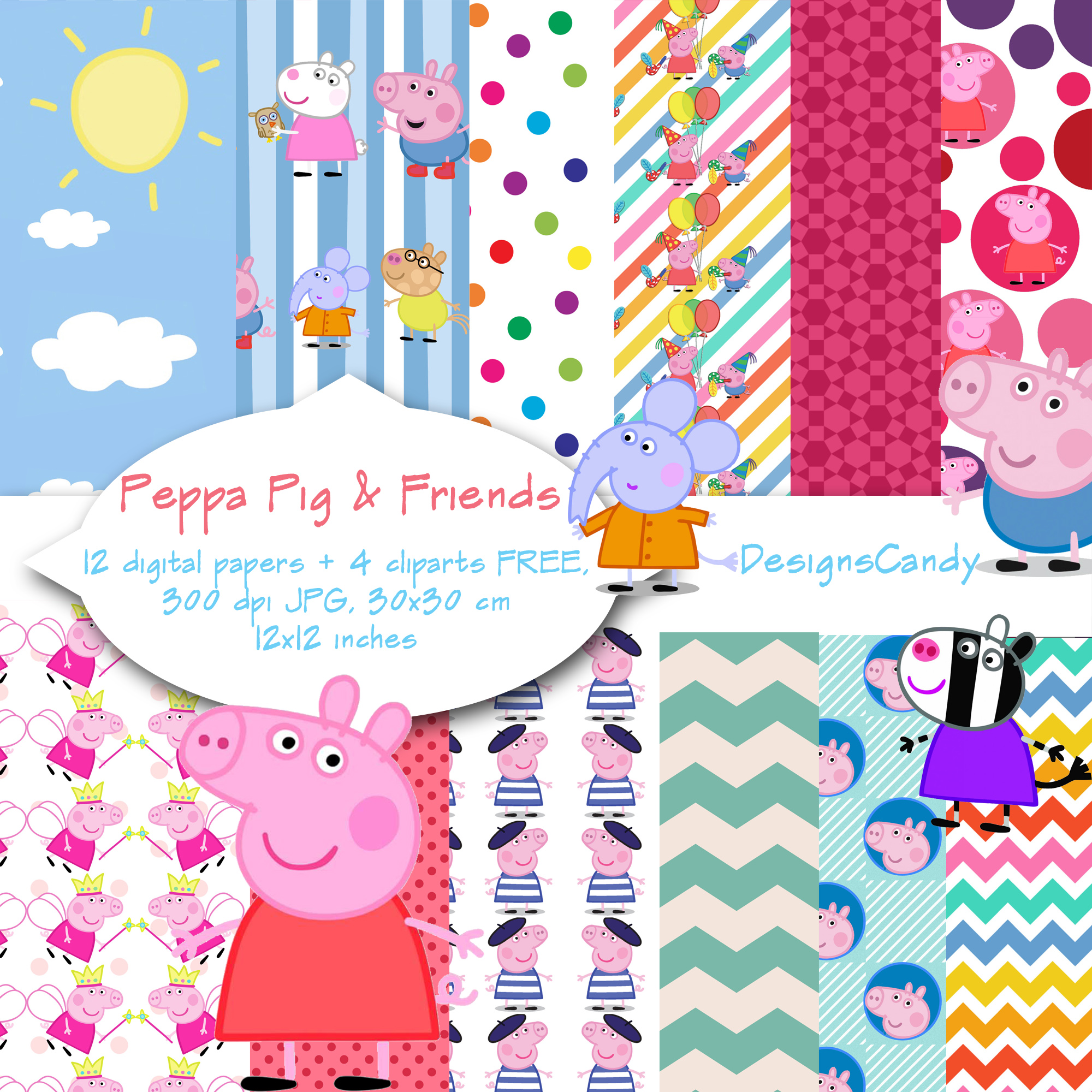 Peppa Pig Inspired Digital Paper Peppa Pig Clipart Scrapbook Background Digital Paper Birthday Party Theme Invitations P C Use